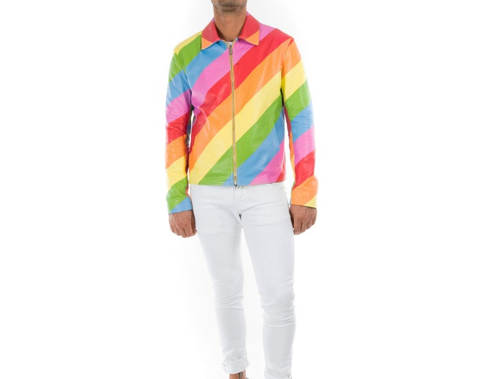 Italian handmade slim fit pride Gay Men genuine Lambskin leather Lightweight jacket Multicolor RAINBOW XS to 2XL