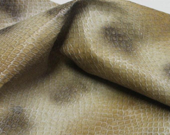 Italian strong Goatskin leather skin skins KHAKI SNAKE print embossed textured scales 5+sqf #A1819