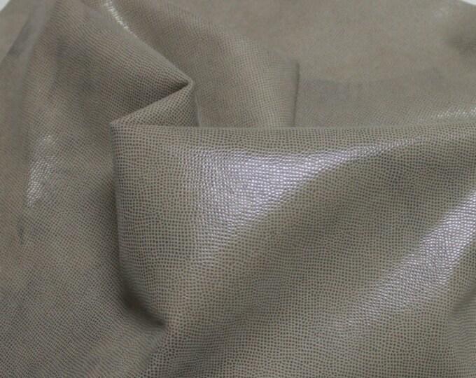 Italian  Goatskin leather hides skins hide skin LAMé khaki BEIGE DISTRESSED 3sqf  #7659