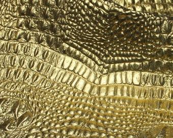 Italian Goatskin leather 12 skins hides METALLIC GOLD CROCODILE Alligator embossed 75-80sqf