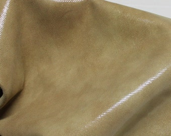Italian thick Goatskin leather hides skins hide skin sand sandy TAN LAMé PEARLIZED distressed 4sqf  #7679