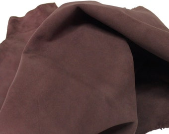 Italian Goatskin leather skin skins hide hides SUEDE COCOA BROWN 2+sqf #8980