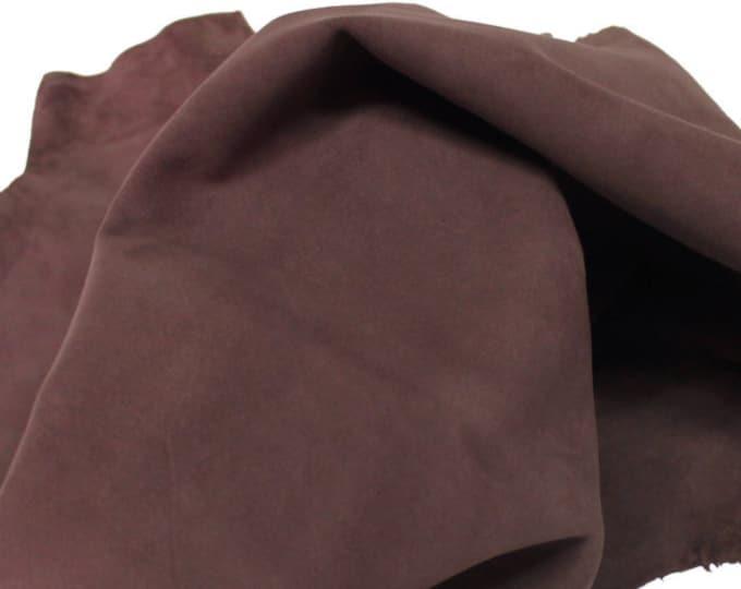 Italian Goatskin leather skin skins hide hides SUEDE COCOA BROWN 2+sqf #8980