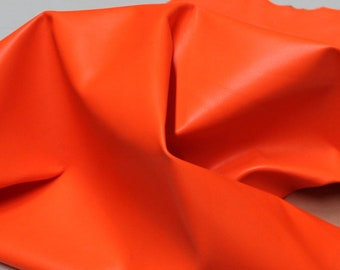 FLASHY NEON ORANGE Italian Goatskin leather skins hides Fluorescent  250sqf