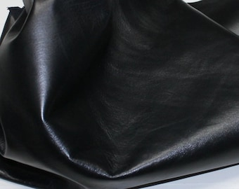 Italian genuine Goatskin Goat leather 12 skins hides BLACK 75-80sqf