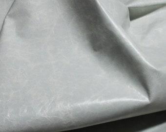 Italian strong Goatskin leather hides skins hide skin patent CRINKLE LIGHT GREY distressed  4sqf  #7991
