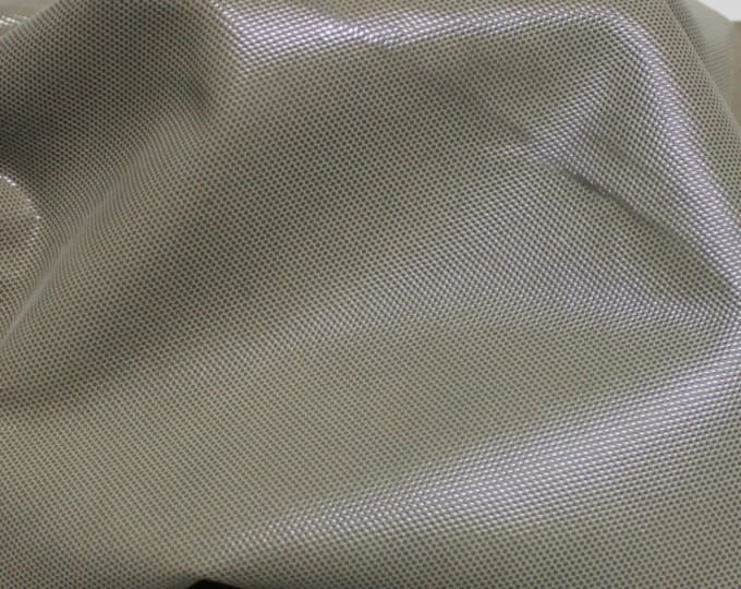 Italian  Goatskin leather hides skins hide skin LAMé KHAKI DISTRESSED 3sqf  #7672