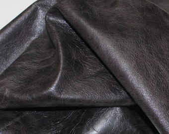 Italian Goatskin leather skin skins hide hides vintage CRACKED DARK BROWN 4sqf #A1824