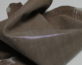 Italian Goatskin leather hides skins hide skin LAMé COCOA BROWN distressed 4sqf  #7702