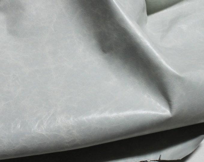 Italian strong Goatskin leather hides skins hide skin patent CRINKLE LIGHT GREY distressed  5+sqf  #7992