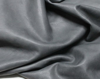 Italian Goatskin leather skins hides WASHED GREY vegetable tanned 250sqf