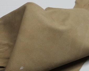 Italian thick strong Goatskin leather hide hides skin skins washed GRAINY KHAKI BEIGE #10016  4sqf