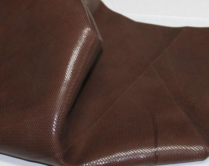 Italian  Goatskin leather hides skins hide skin LAMé shiny BROWN  2sqf  #7792