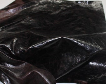 Italian strong Goatskin leather hide hides skin skins Crinkle PATENT ANTIQUED BROWN #10093  3sqf