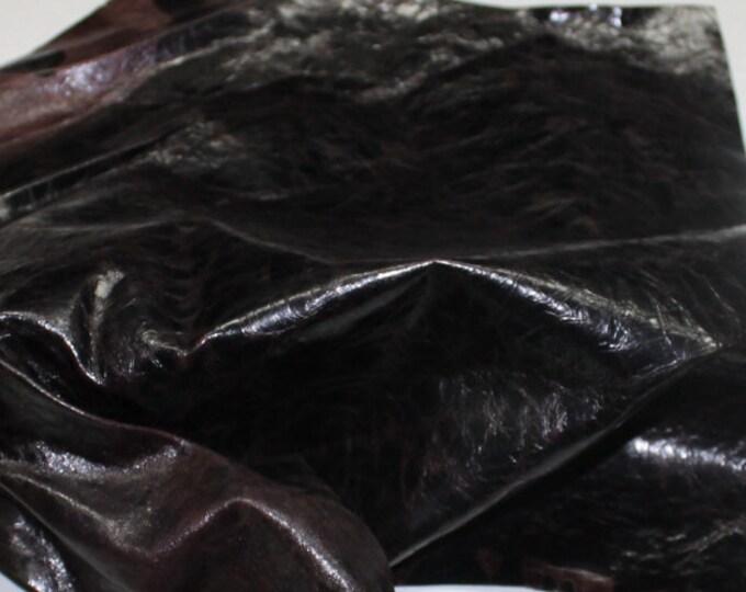Italian strong Goatskin leather hide hides skin skins Crinkle PATENT ANTIQUED BROWN #10093  3sqf