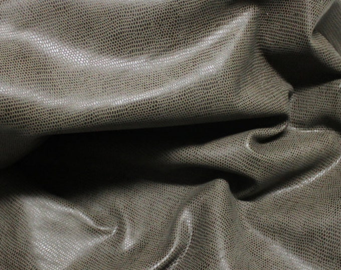 Italian Lambskin leather hides skins hide skin vtg OLIVE BROWN LIZARD print  8sqf  #7624