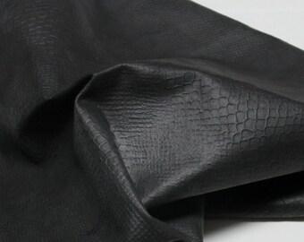 Italian  Goatskin leather hides skins hide skin very DARK BROWN REPTILE print  7sqf  #8010