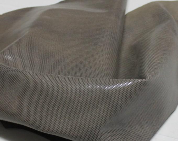 Italian  Goatskin leather hides skins hide skin LAMé KHAKI DISTRESSED antiqued 3sqf  #7799