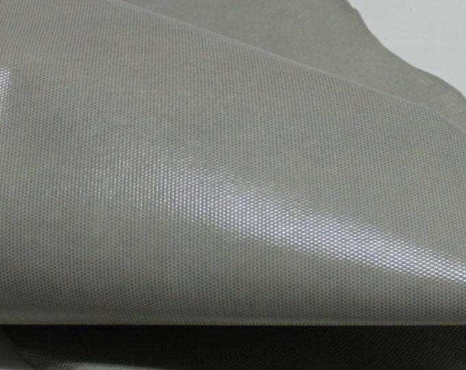 Italian  Goatskin leather hides skins hide skin LAMé LIGHT GREY distressed 3sqf  #7963