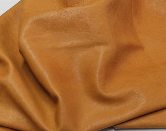 Italian soft lambskin leather 12 skins hides SADDLE TAN vegetable tanned 80-90sqf