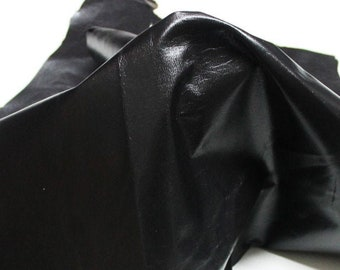 Italian strong Goatskin leather skin skins hide hides Shiny VERY DARK BROWN  7sqf #9593