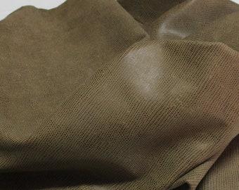 Italian Lambskin leather hides skins hide skin vtg OLIVE BROWN REPTILE print 6sqf  #7854