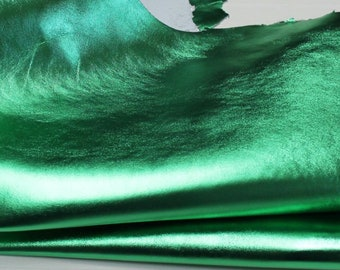 METALLIC EMERALD GREEN Italian lambskin lamb sheep leather material for sewing 12 skins hides 80-90sqf0.7mm