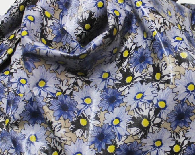 Italian lambskin leather 12 skins hides BLUE FLOWERS print 80-90sqf