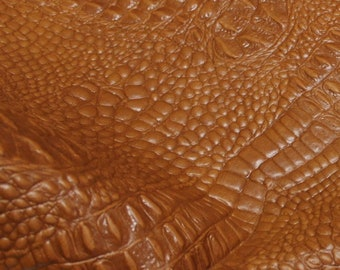 Italian lambskin leather 12 skins hides CROCODILE ALLIGATOR embossed texture on Natural TAN 80-90sqf