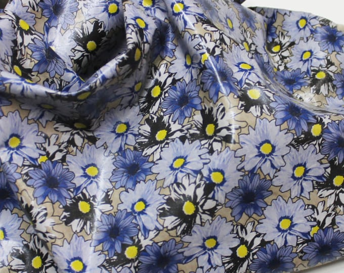 Italian soft Lambskin leather skin skins hides hide BLUE FLOWERS PRINT 5+sqf