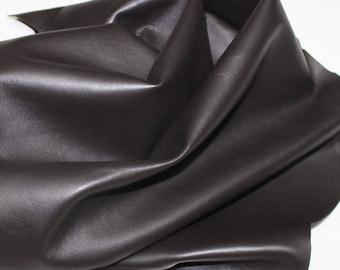 Dark brown soft Italian Lambskin leather hide skin hides skins real genuine #CIC11053
