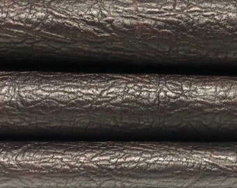 ANTIQUED BROWN textured rustic rough Italian Lambskin Lamb Sheep leather 3 skins hides total 24sqf 0.9mm #A5010