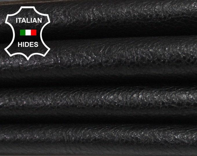 BLACK CRINKLED COATED crinkle Italian genuine Lambskin Lamb Sheep leather 2 skins hides total 13sqf 0.7mm #A4119