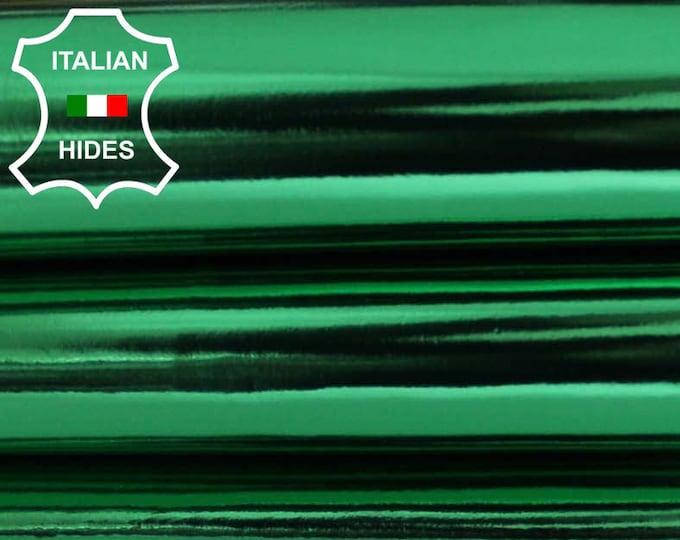 METALLIC EMERALD GREEN Italian genuine Lambskin leather hide skin pelt skins hides 6-8sqf 0.6mm
