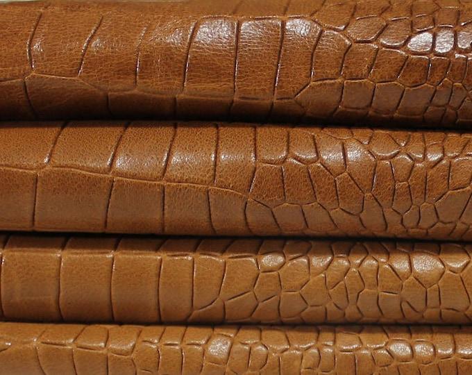 Italian lambskin Lamb Sheep leather 12 skins hides WASHED BROWN CROCODILE pattern embossed vegetale tan 100sqf