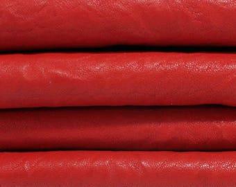 WASHED RED ANTIQUED vegetable tan Italian genuine lambskin lamb sheep leather skins hides skin hide 6sqf #A3248
