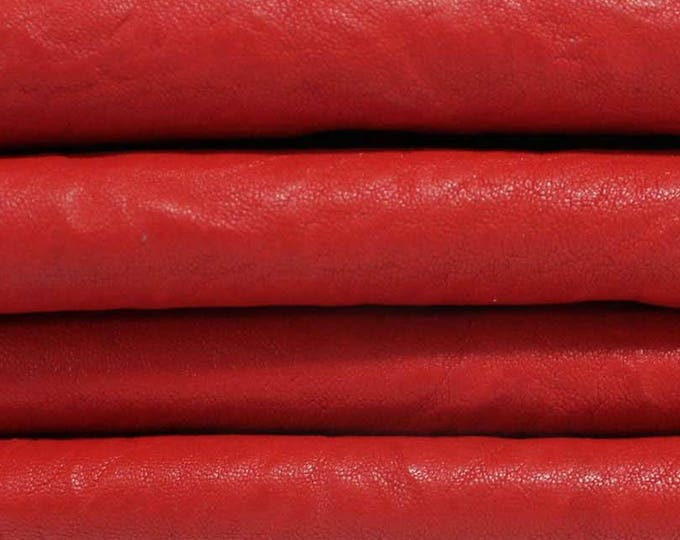 WASHED RED ANTIQUED vegetable tan Italian genuine lambskin lamb sheep leather skins hides skin hide 6sqf #A3248