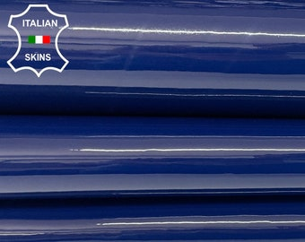 OCEAN BLUE PATENT shiny wet look Italian calfskin calf cow thick strong leather hide hides skin pack 3 skins total 10sqf 1.3mm #A8260
