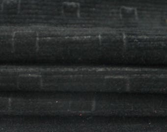 BLACK SUEDE lines print Calf Calfskin Italian genuine leather skin skins hide hides  12+sqf #A2852