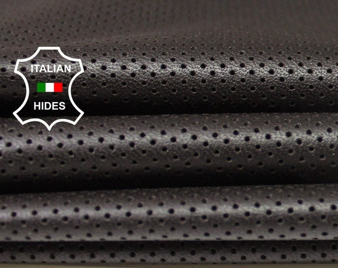 DARK BROWN PINHOLES Perforated  Italian genuine Lambskin Lamb Sheep wholesale leather skins material for sewing high quality 0.5mm to 1.2mm