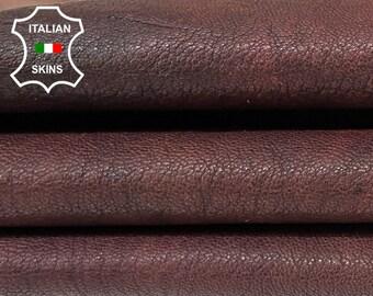 RED WOOD BROWN rustic antiqued look rough vegetable tan Italian goatskin goat leather skin skins hide hides 4sqf 1.1mm #A8395