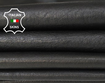 WASHED BLACK veg vegetable tanned Italian Lambskin Lamb Sheep leather material sewing craft crafts 2 skins hides total 10sqf 0.7mm #A6091