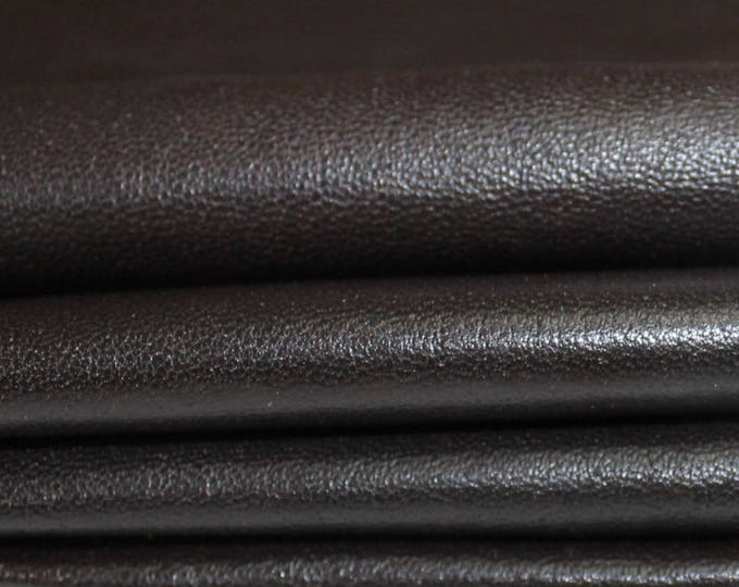 MAHOGANY BROWN ANTIQUED Distressed Italian genuine Lambskin Lamb sheep leather skin hide skins hides 9sqf 0.7mm #A3558
