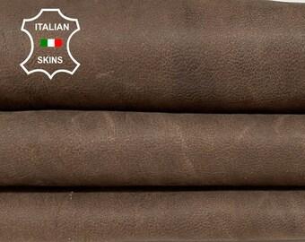 BROWN MATTE RUSTIC antiqued vintage look vegetable tan soft Italian goatskin goat leather skin skins hide hides 8sqf 0.7mm #A8472