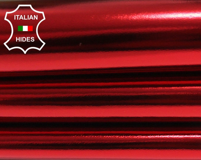 METALLIC RED CHRISTMAS thin soft Italian genuine lambskin Lamb Sheep leather skin skins hide hides 0.5mm