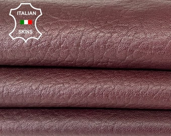NATURAL BURGUNDY GRAINY  vegetable tan thick soft Italian lambskin sheep leather skin skins hide hides 6sqf 1.2mm #A8098