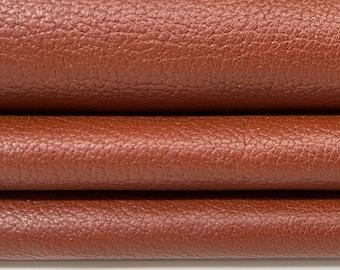 RUST BROWN Pebble grain grainy Italian Calfskin Calf leather skin hide skins hides 8+sqf 0.7mm #A7859