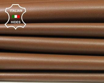 BROWN thin soft Italian Calfskin Calf cow leather material for sewing 11 hides skins total 70sqf 0.4mm #A4778