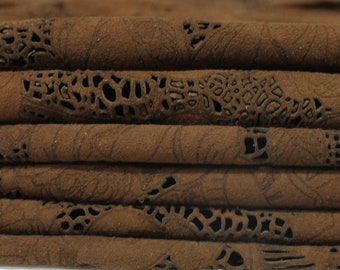 BROWN SUEDE FLOWERS Laser engrave thin soft Italian genuine lambskin lamb sheep leather 2 skins hides total 8sqf 0.4mm