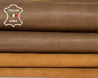 PACK BROWN 2 SHADES washed vegetable tan Italian goatskin goat leather pack 2 skins total 11sqf 1.1mm #A8430